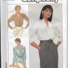 Simplicity 8390 Blouses Women Shawl, Notched Collars, Long Taper Sleeves Size 20