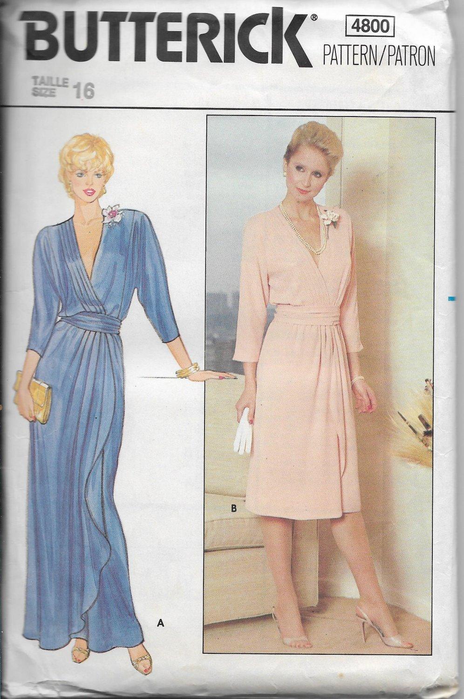 Vintage Butterick 4800, Women Evening Casual Dress Size 16, Short Long Style F/F