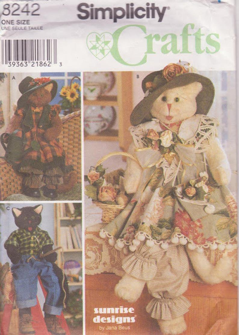 Simplicity 8242 Cats and Clothes Blue Jeans Shirt 2 Girl Cats in Dresses Hats Three Styles Size 30 ""