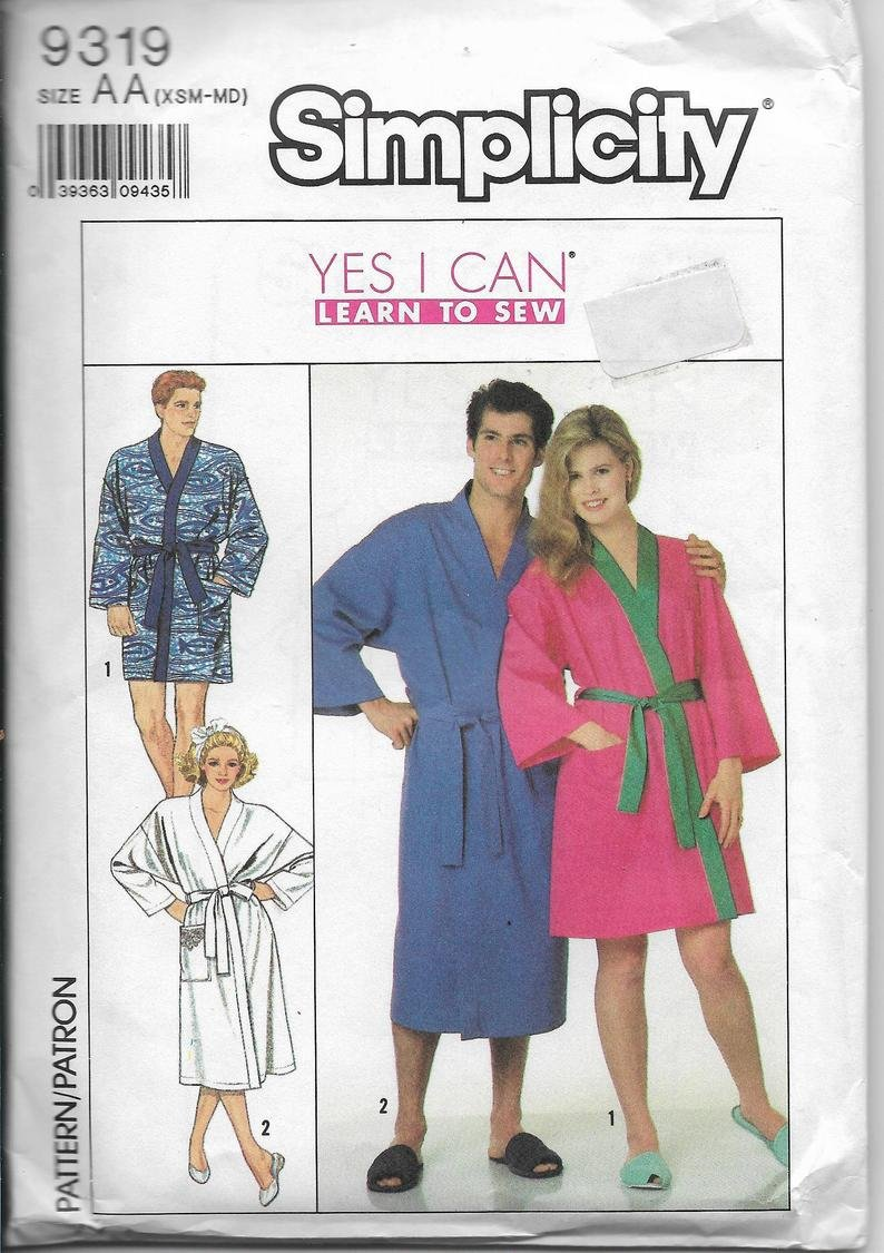 Vintage Simplicity 9319 Bathrobe Kimono Robe Unisex Long Short Length Teens Men Women Size XSM-MD