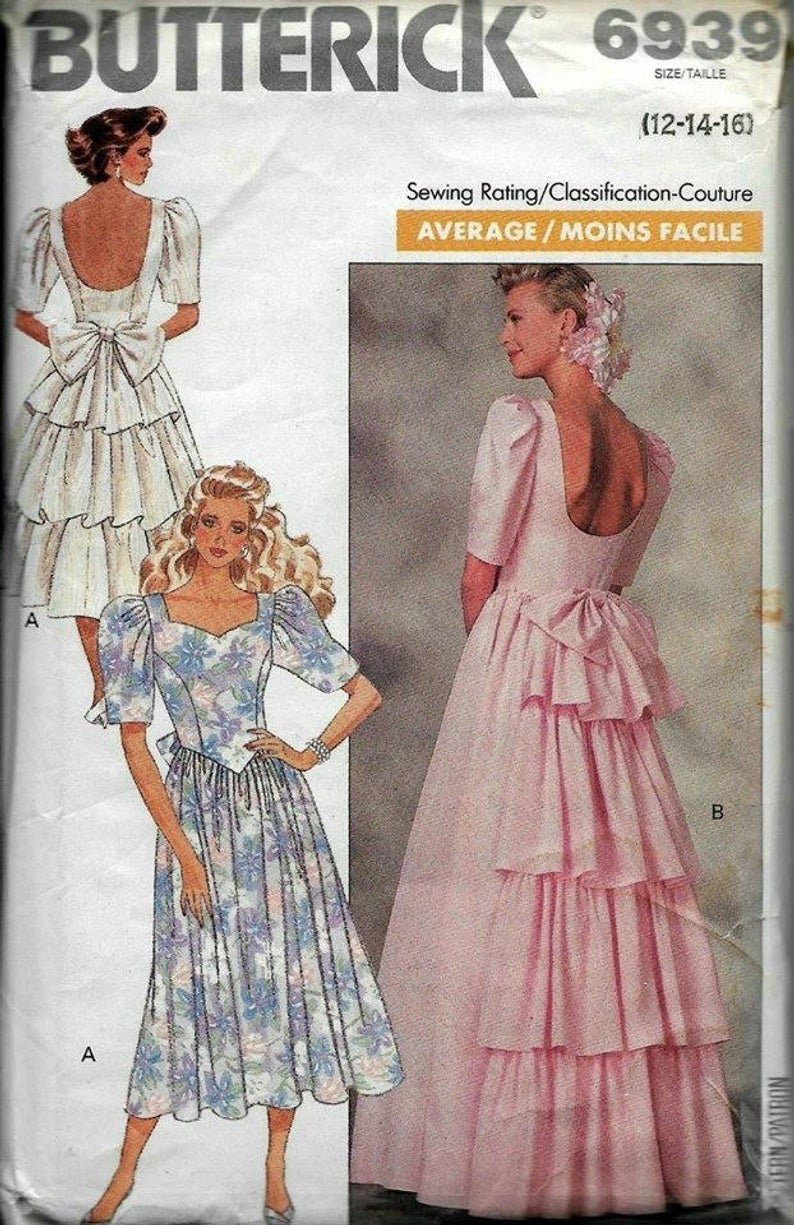 Butterick 6939 Wedding Dress, Prom Dress, Size 12-14-16, Special Occasion  Average Sew Vintage