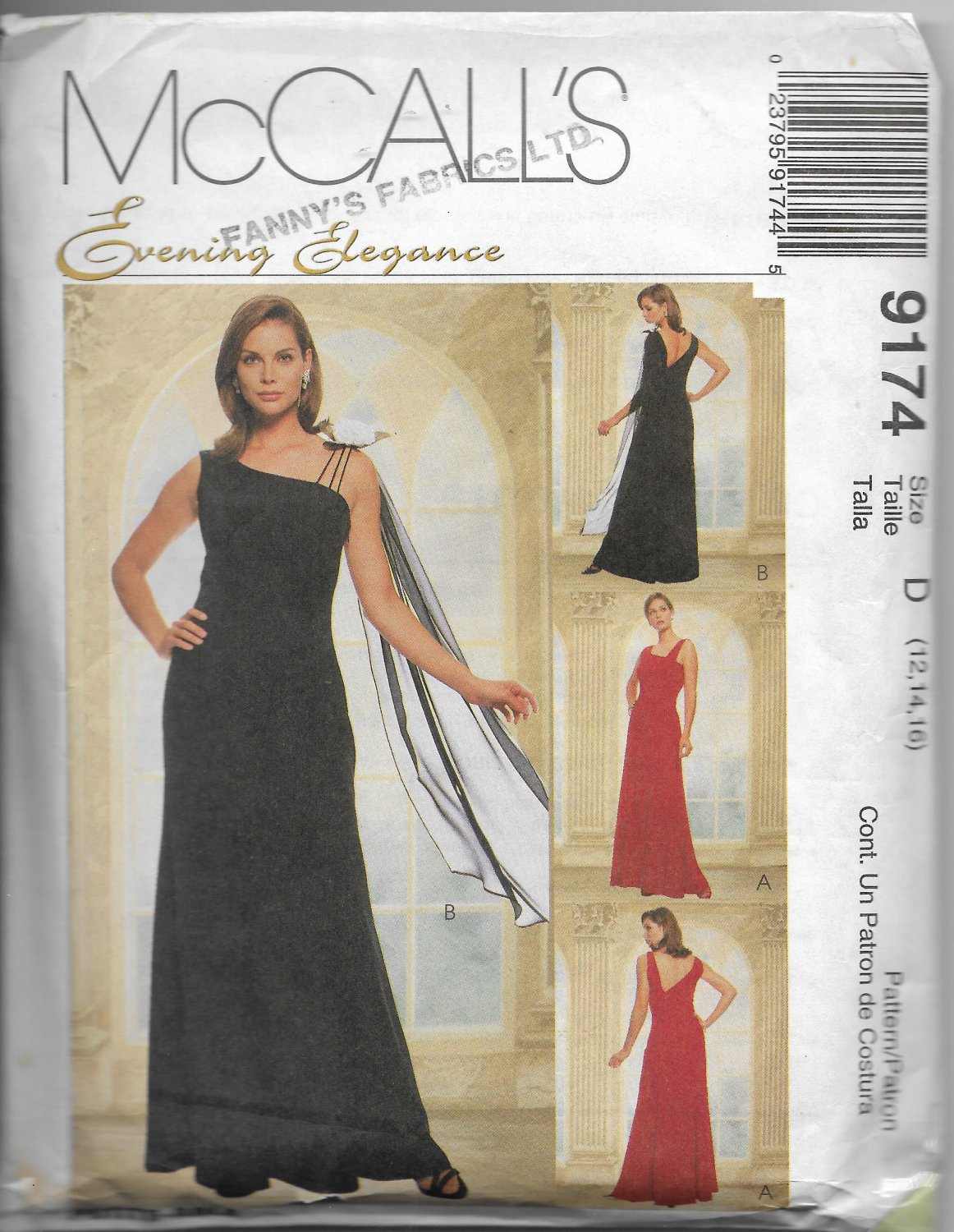 McCall's 9174 Women Evening Elegance Dress Floor Length Asymmetrical Size 12 14 16