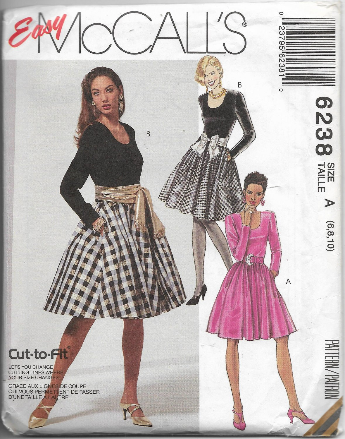 Vintage McCall's 6238 Women Causal Dress with Belt Optional Petticoat Sizes 6, 8, 10