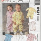 McCalls 8431 Infants Jumpsuits Rompers Button or Snap Closures Easy Sew Pattern