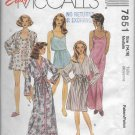 McCalls 7851 Sleepwear Robes Nightgowns Mix Styles Size Medium 12-14 Vintage 1995 Sew Pattern