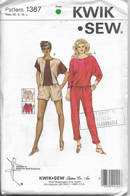 Kwik Sew 1387 Women Pants Shorts and Top, Sizes XS - S - M - L, Sewing Pattern