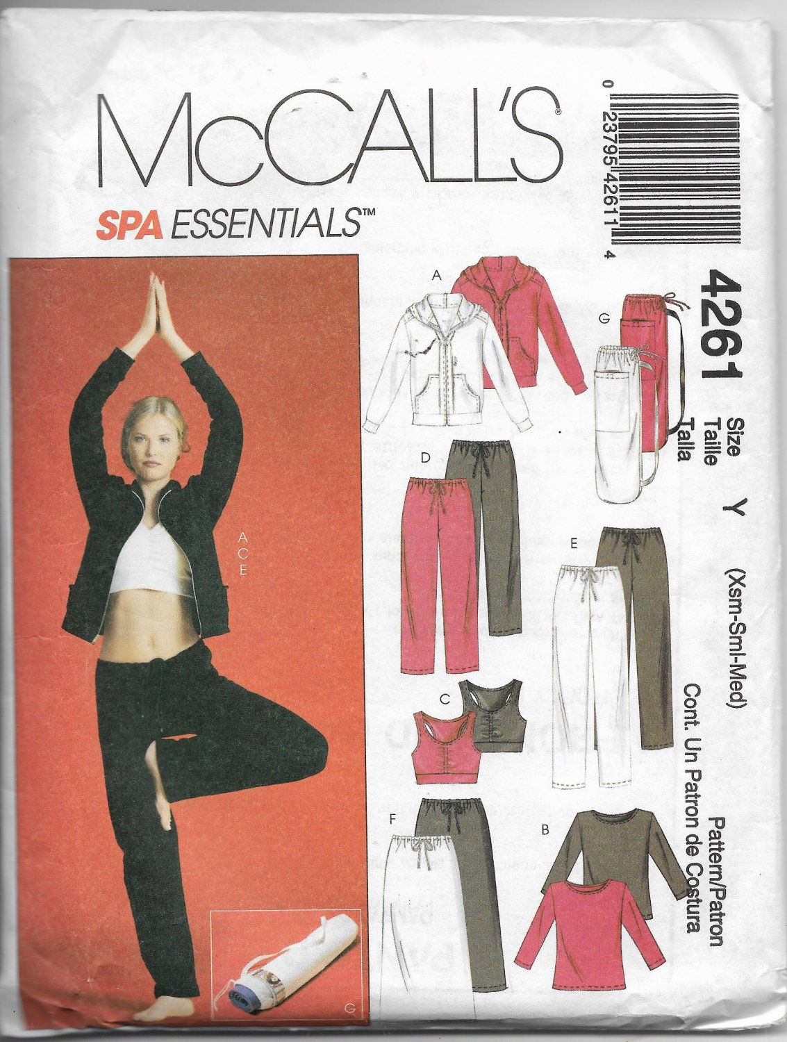 McCalls 4261 Leisure Wear Women Tops Jackets Pants Shorts Skirt Sizes Xs - S - M