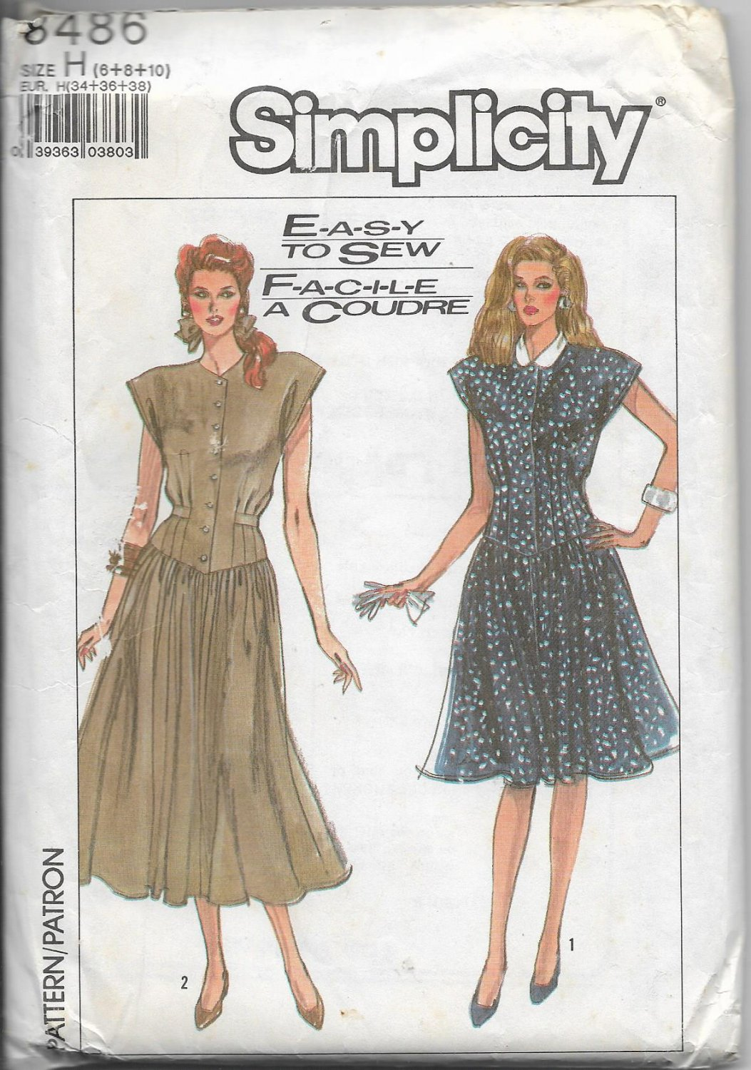 Simplicity 8486 Misses Dress in Two Lengths Drop Waist Sizes 6+8+10 Adjustable for Petite