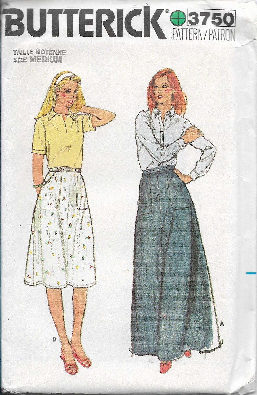 Vintage Butterick 3750 Misses Skirts Full Length and Below the Knee, Front and Side Pockets