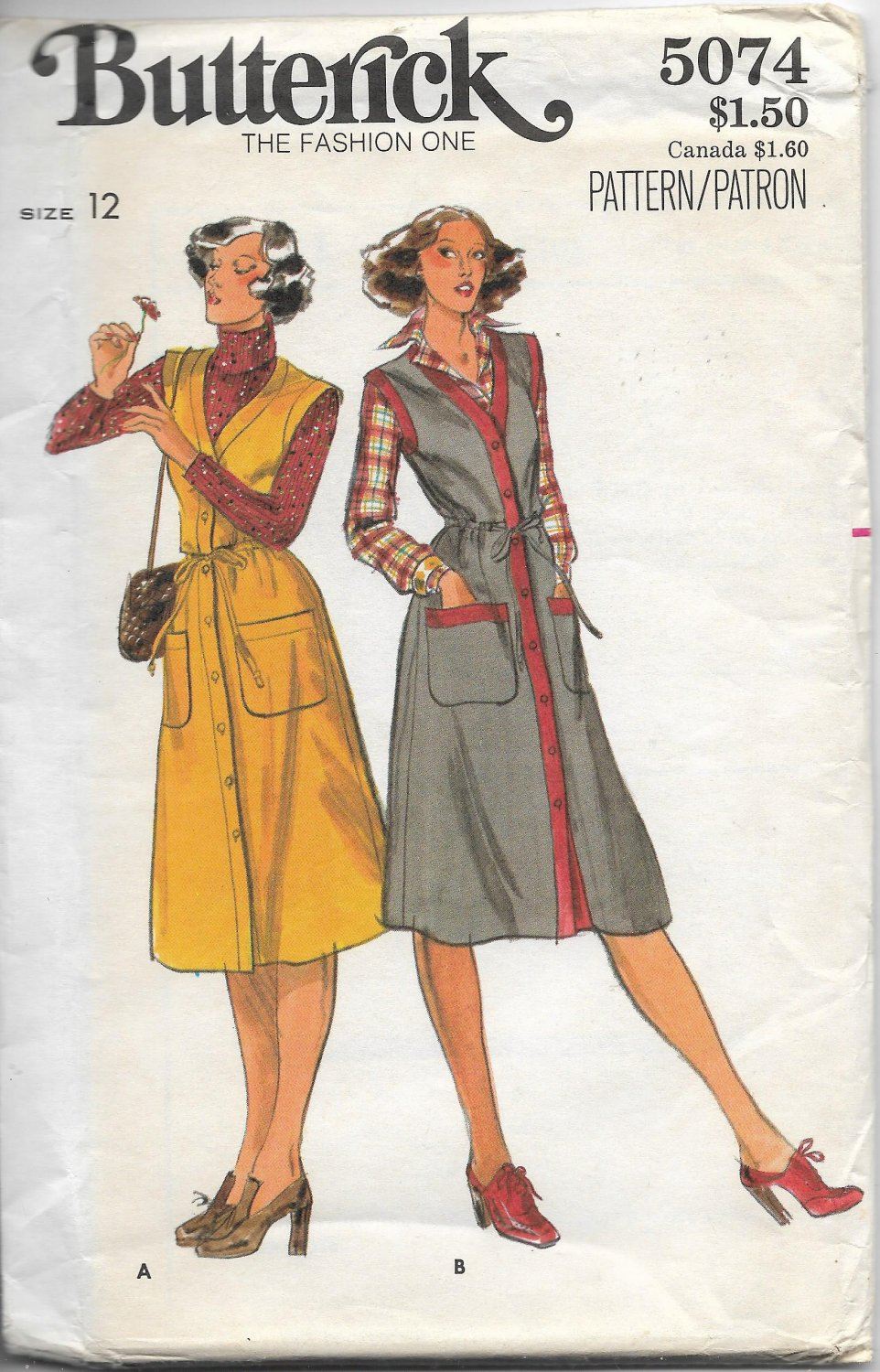 Vintage Butterick 5074 Womens Jumper Size 12 Sewing Pattern Factory Folded