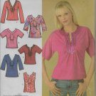 Simplicity 4124 Shirt Tops 6 Different Styles Easy Sew Sizes 8 to 10