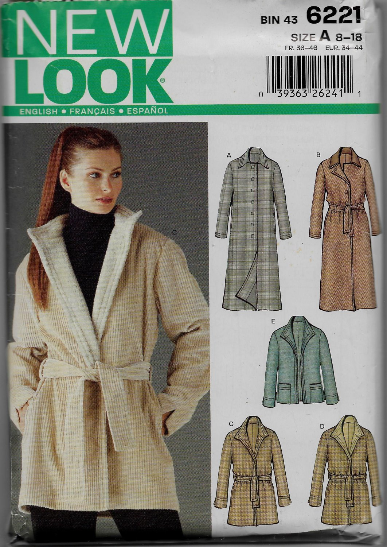 New Look Simplicity 6221 Women Jacket Full Coats 3/4 Length, Belt Option, Detachable Collar Contrast