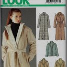 New Look Simplicity 6221 Women Jacket Full Coats 3/4 Length, Belt Option, Detachable Collar Contrast