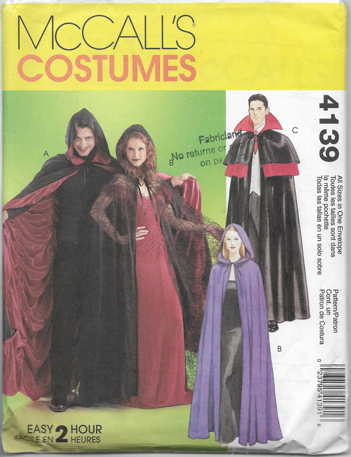 McCalls Costume Capes Unisex Line or Unlined Sizes Small to X Large all in one Sewing Pattern