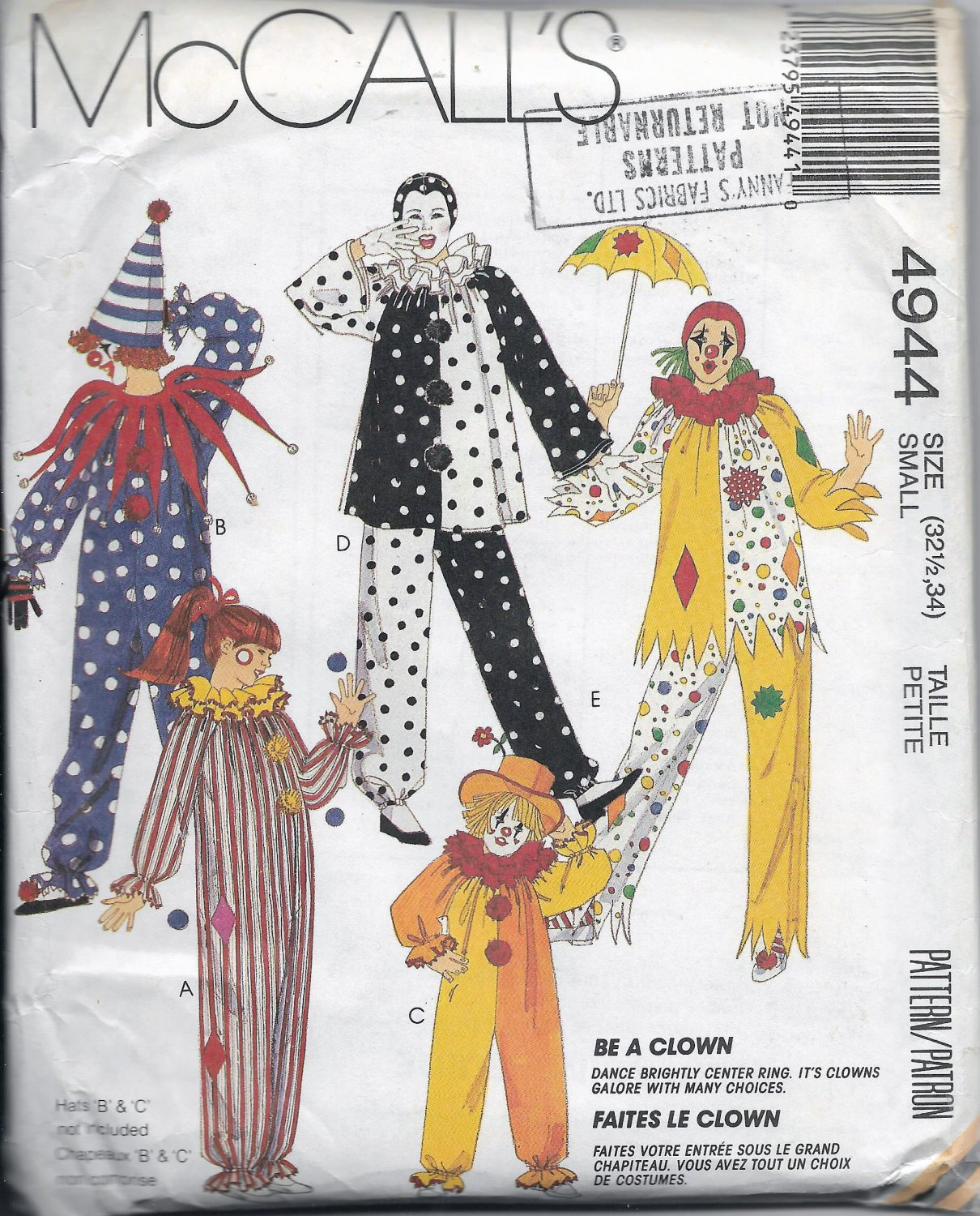Vintage McCalls  4944 Costumes Adults Clowns Unisex Size Small