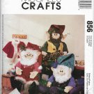 McCalls 856 Santa and Elf Dolls, Sewing Crafts Pattern, Dolls with Clothes Pants Shirts Hats Vest,
