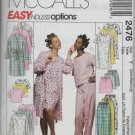McCalls 2476 Women Sleepwear Nightshirts Pajamas Robes Sizes S M L Sewing Pattern