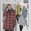 McCalls 2482 Fall or Winter Jackets and Vests Sizes RR 18W to 24W Sewing Pattern Uncut