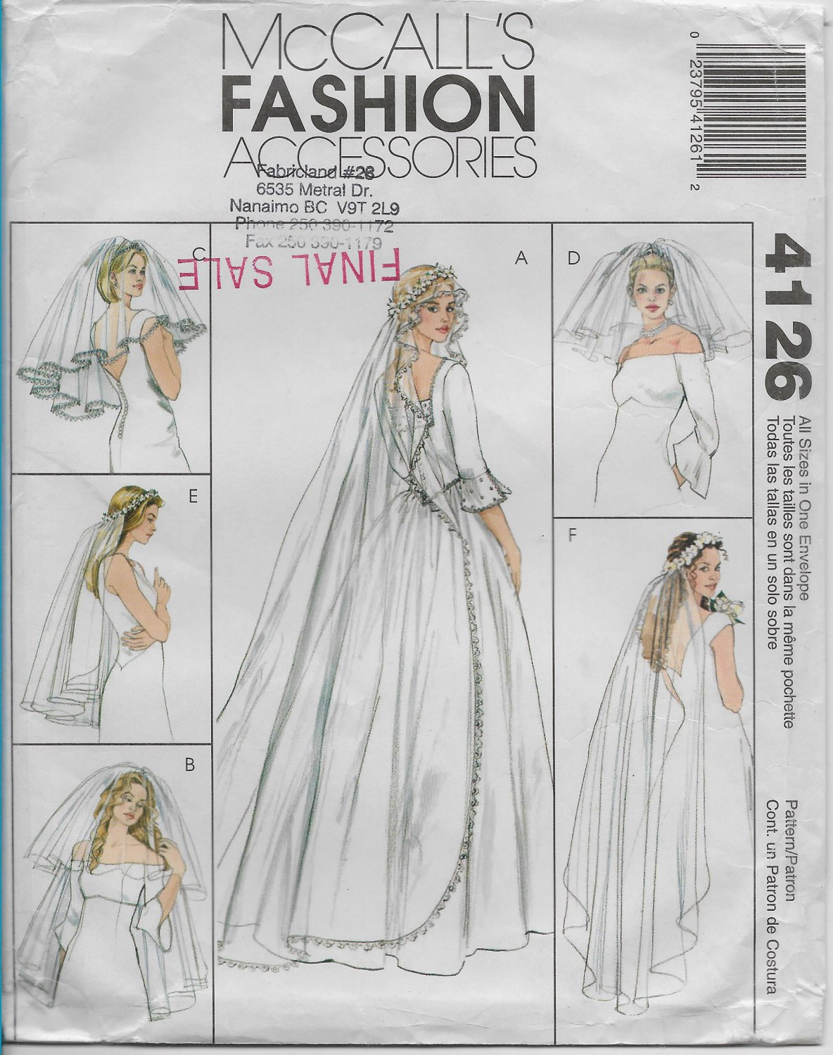 McCalls 4126 Fashion Accessories Bridal Veils Six Styles Headpieces Blushers Sewing Pattern
