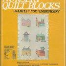 Vintage Nursery Quilt Blocks Embroidery Stamped 12 Blocks 9 x 9, Vogart Crafts Kit 1970s
