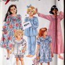 Simplicity 8093 Girls Pajamas Sizes 3-6 Nightgown Top Pants Bottoms Robe