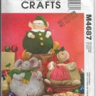 McCalls M4687 Christmas Decor Holidays, Plush Figures, Elf, Gingerbread, Mouse, Sewing Pattern