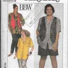 Simplicity 9673 Tops Pants Shorts Vests, Casual Wear Plus Sizes 18-24, Eur, FF 46-52