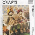 Rabbits Animal Dolls Sewing Pattern McCalls Crafts 9163 18 inches Seated Dresses Bloomers Hats Socks