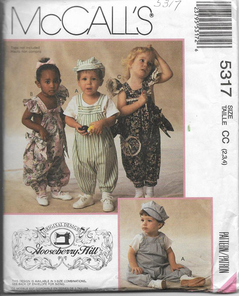 McCalls Pattern 5317 Boys Girls Toddler, Overalls Rompers, Sizes 2 3 4, Gooseberry Hill