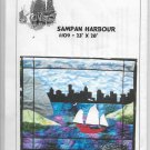 Sampan Harbor Sailboat with City Background, Pillow Cover, Quilted Wall Hanging Size 23 x 28 inches