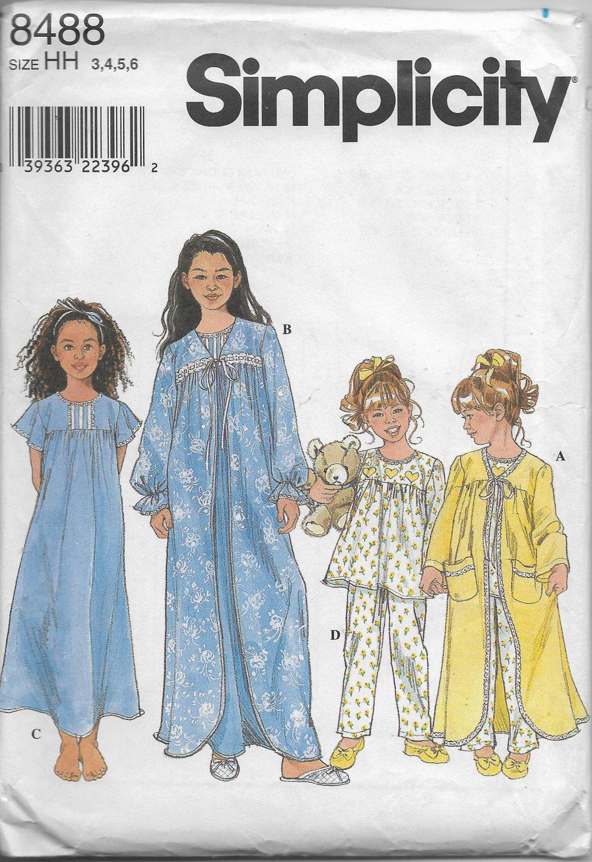 Simplicity 8488 Girls Sizes 3 to 6 Sleepwear Robe Nightgown Pajamas Sewing Pattern