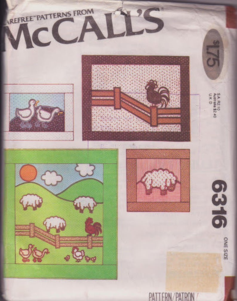 McCall�s 6316 Quilt Pillows Wall Hangings Farm Animals Sheep Ducks Chickens Pattern Vintage 1978