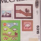 McCall's 6316 Quilt Pillows Wall Hangings Farm Animals Sheep Ducks Chickens Pattern Vintage 1978