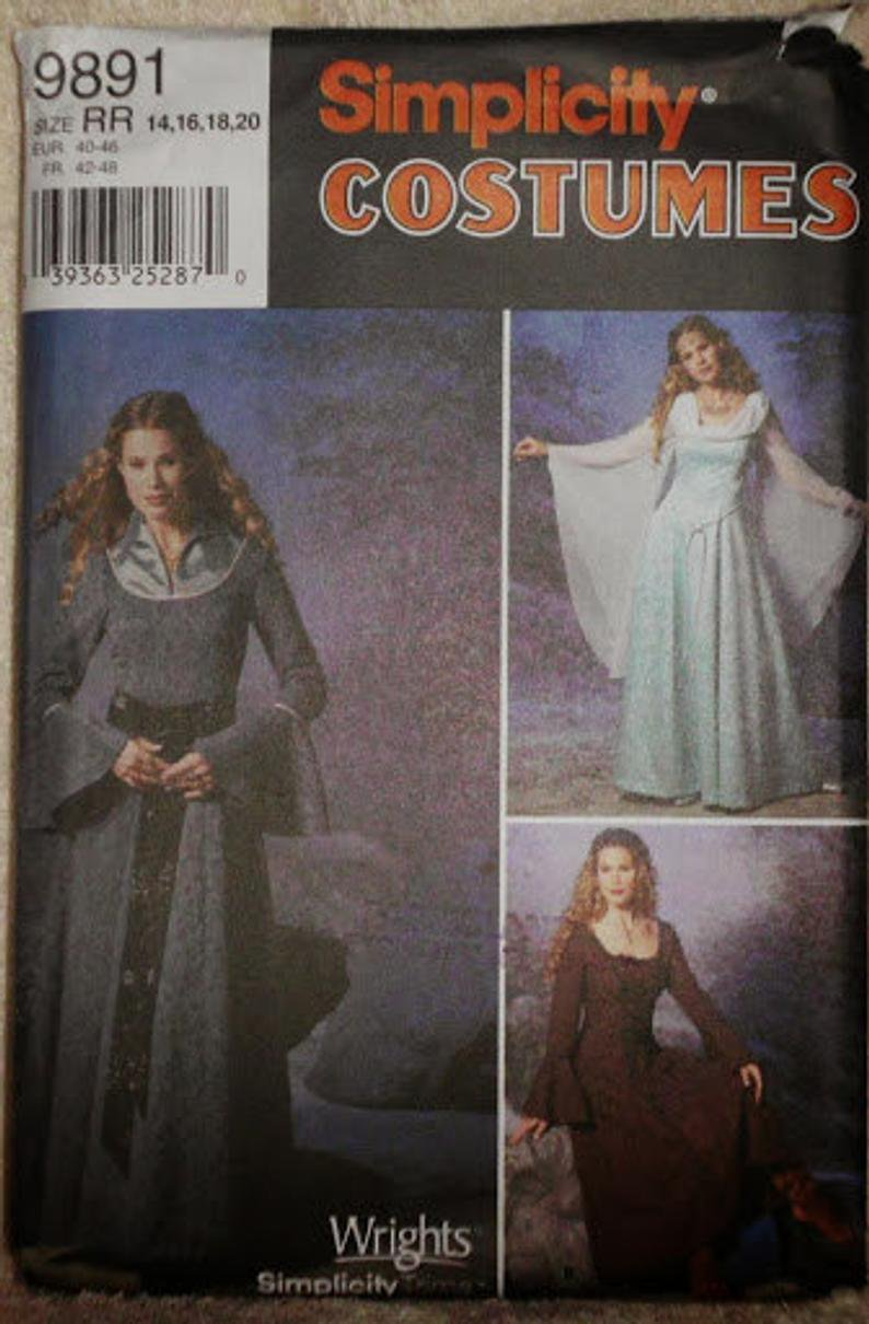 Simplicity 9891 Wrights Costumes Medieval Long Dress Roman, Cosplay costume