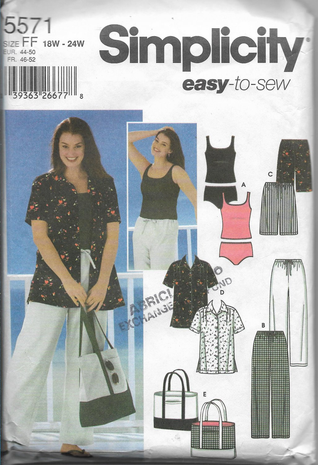 Simplicity 5571 Women Pants Shorts Tops Sizes 18 to 24 Easy Sew Pattern