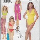 Butterick 6578 Bathing Suit & Pareo Wrap, Bikini Swimsuit Sizes 6 8 10, Kathy Ireland