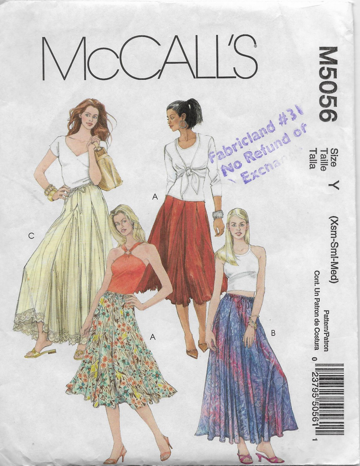 McCalls 5056 Women Flared Skirts in Two Lengths Sizes X Small, Small, Medium