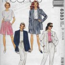 McCalls 6383 Women, Spring Summer Light Jacket Top Pants and Shorts, Sizes 12 14 16