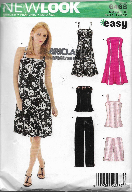New Look 6468 Size 6 to 16 Dress Pants Shorts Tops Summer Wardrobe Sewing Pattern