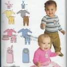 Simplicity 2291 Baby Pants,Skirt, Bibs,Bodysuit, One size Bunting,  Multi Sizes