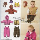 Simplicity 2523 Baby Unisex Easy Sew Overalls, Jacket, Vest and Hats Sizes XXS to L
