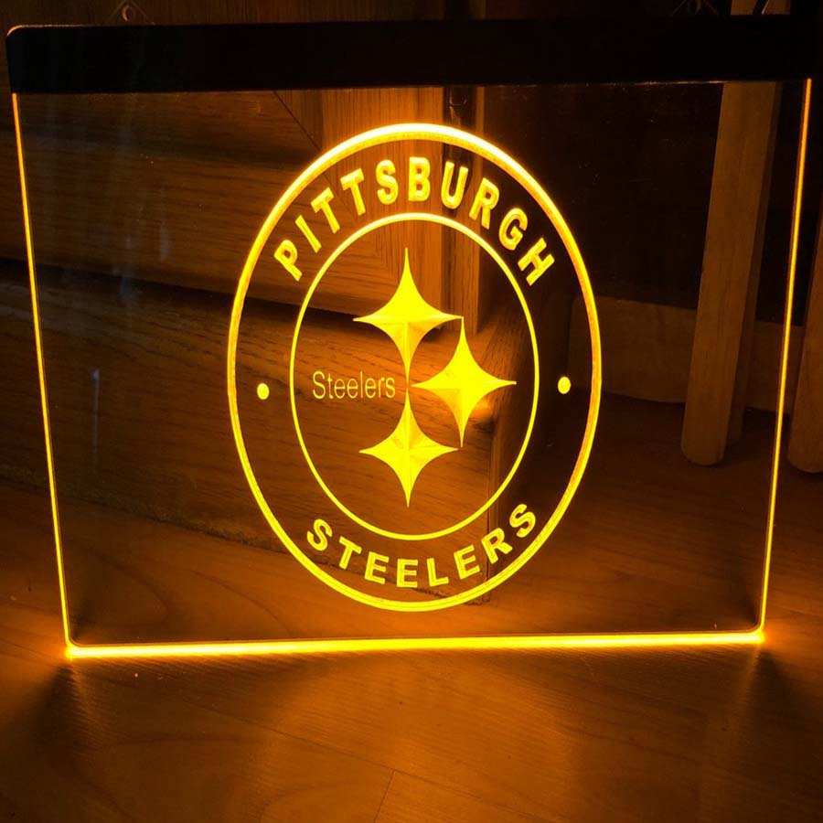 Pittsburgh Steelers LED Neon Light Sign Hang Signs Wall Home Decor Room Craft