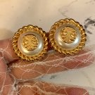 Vintage Fendi Gold with pearl clip earrings 1990s