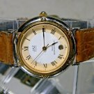 Silver & Gold Jazz French Date Watch. Leather Band. New Battery. 2 Year Warranty