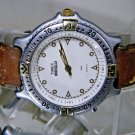 Silver & Gold Timex Water Resist Watch. Leather Band New Battery 2 Year Warranty