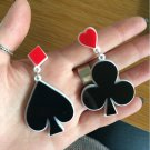 Asymmet Earrings Red Black Acrylic Suit Playing Cards Heart Spade Club Diamond