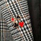 Set Jewelry Enamel Pin Metal Poker Suits Heart Spades Brooch Lapel Collar Safety