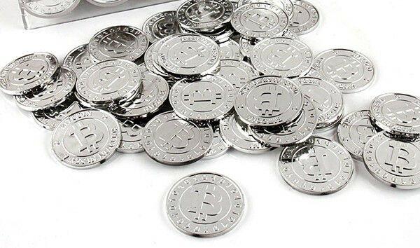 50 pcs Pack Lot Set Silver Bitcoin BTC XBT Model Style Design Poker Casino Chips