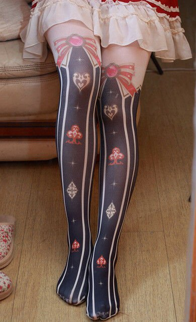Poker Printing Pantyhose Thigh-Highs Stockings Plus Alice Bow Vertical stripes