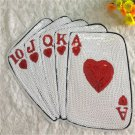 ACE Playing Cards Sequins Patch Poker Applique Embroidery Stickers Iron-On 2018